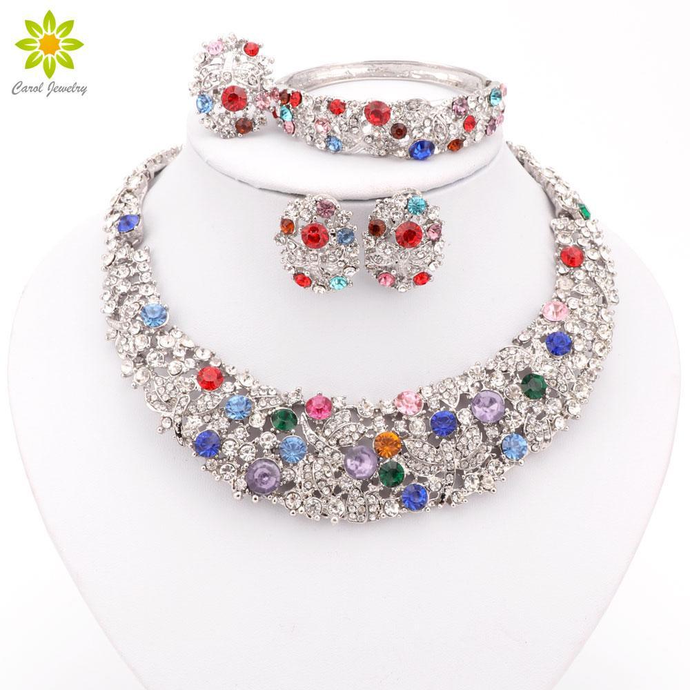 Set di gioielli di cristallo austriaco colorato placcato argento Set di orecchini di moda vintage per le donne Accessori da sposa