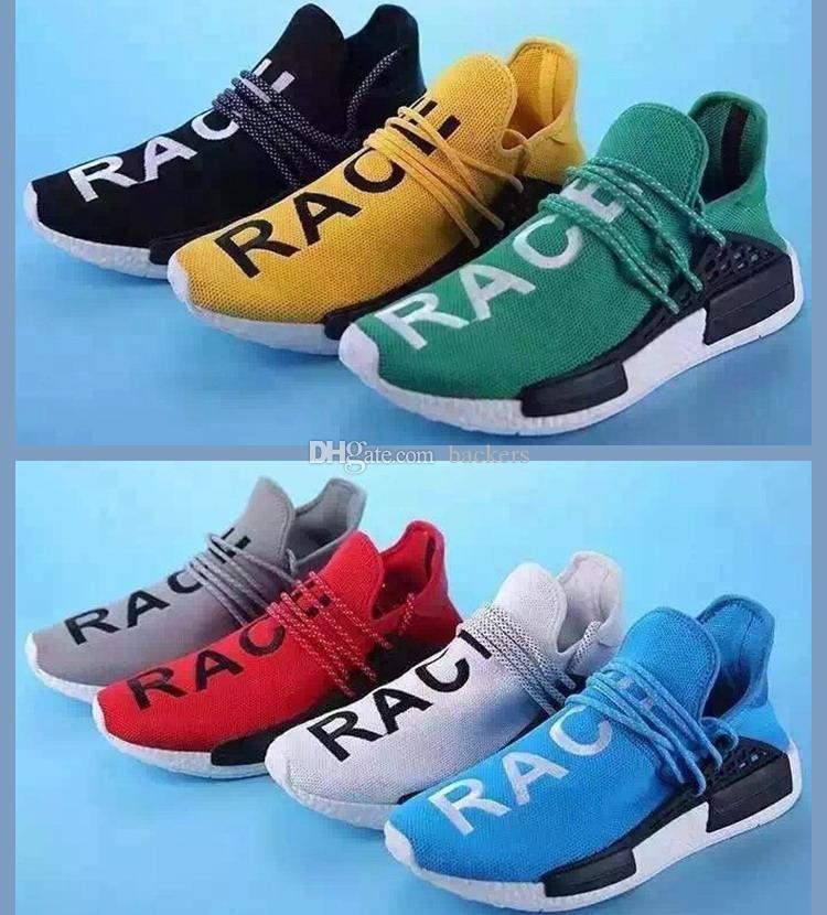 Originals Adidas Pharrell Williams X NMD HUMAN RACE Grey Sneaker Original Mens Sports Running Shoes Black White Size 40 44 Cheap Discount Shoes Sports