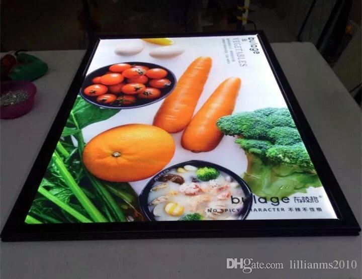 Black Snap Aluminum Frame Indoor Wall Mounted LED Illuminated Restaurant Menu Boards,Advertising Poster Display Frames LED