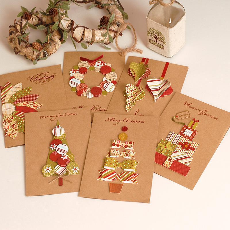 Christmas Greeting Cards Handmade.2017 Vintage Paper 3d Chirstmas Greeting Cards Handmade Kraft Christmas Cards Business Gift Animated Christmas Cards Animated Greeting Card From