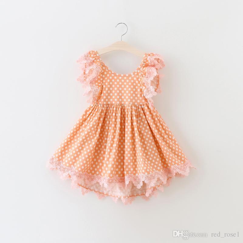 2017 아기 소녀 키즈 파티 드레스 소녀 폴카 도트 레이스 드레스 공주 드레스 크리스마스 드레스 여자 드레스 아이 의류 어린이 드레스