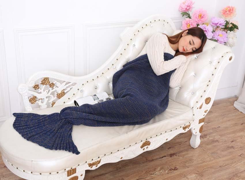 Yarn Knitted Mermaid Tail Blanket Handmade Crochet Mermaid Blanket Kids Throw Bed Wrap Super Soft Sleeping Bed X184 (36)
