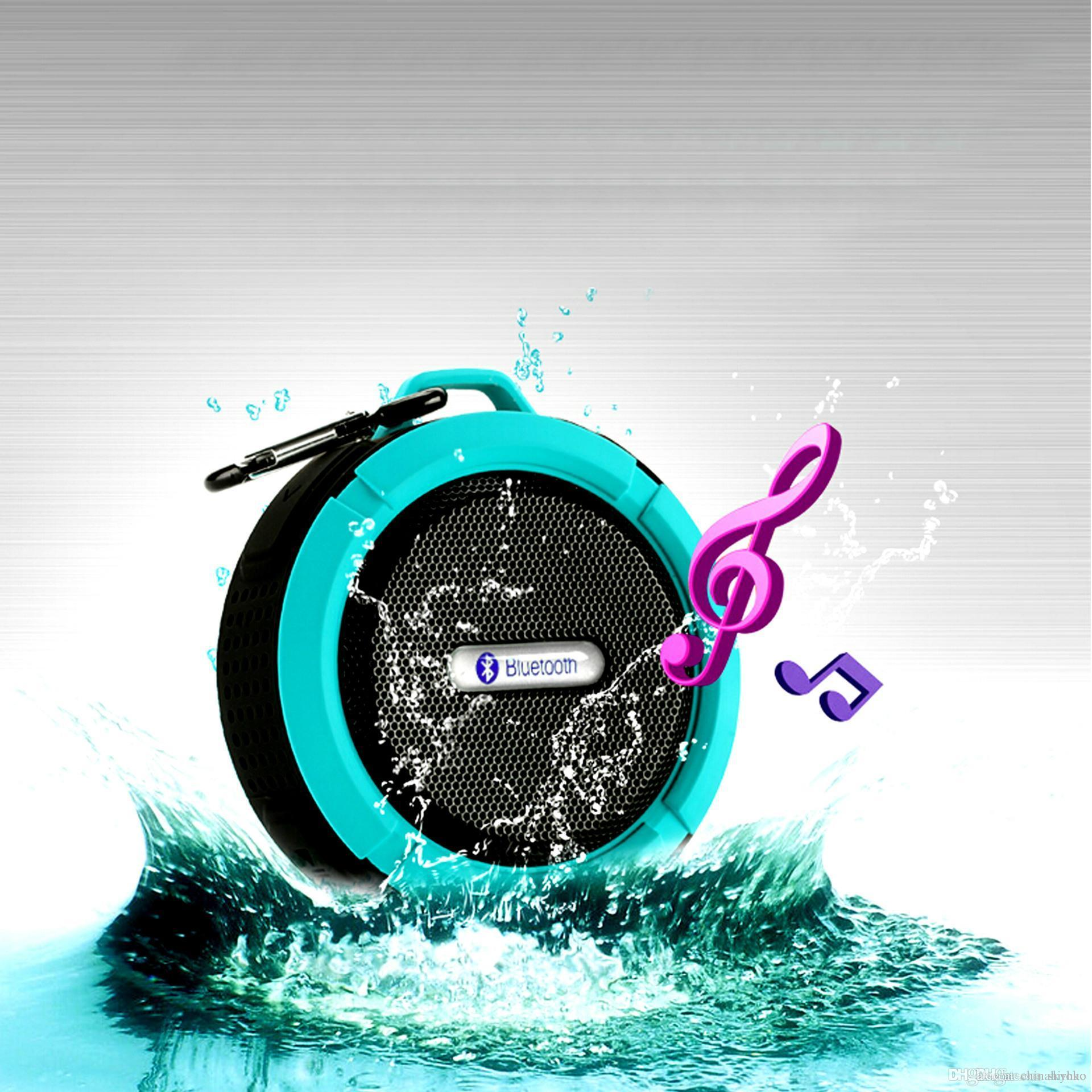 Waterproof Speaker C6 Bluetooth Mini Sound Box Hook Suction Cup Wireless Microphone Hands-free sprot speakers Free DHL Fedex