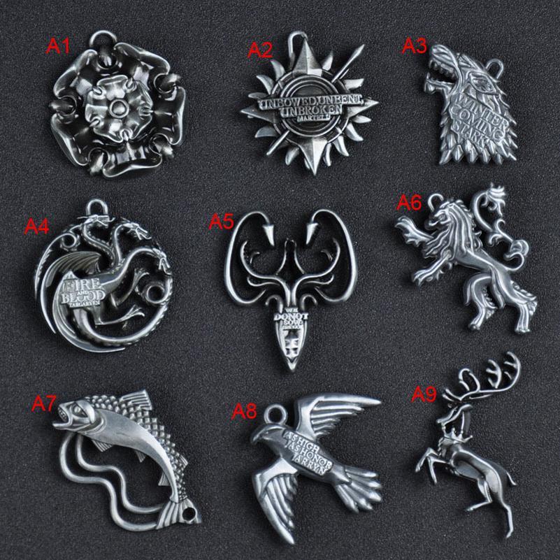 Game of thrones House Stark Lannister Targaryen Keychains Metal Key Ring Keyfob