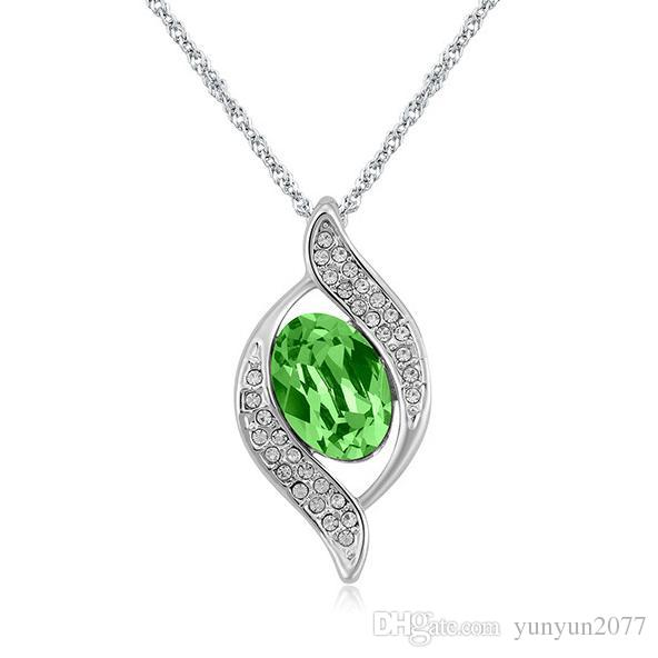 High-grade Austrian Crystal Wedding Bride Germination Leaves Pendants Real Gold Charm Chokers Necklaces Fine Jewelry Accessories For Women