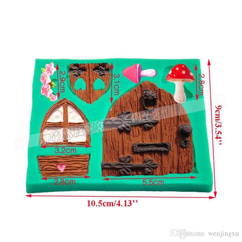 Moule porte fondant outil de cuisson Moule Fairy House Porte 3D Moule Moule Gâteau