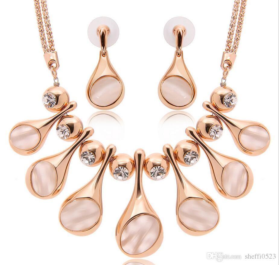 Hot Sale High-Grade Brand Wedding Jewelry Set Fashion Alloy Big Necklace Jewelry 18kgp Earrings Jewelry For Women 61152219