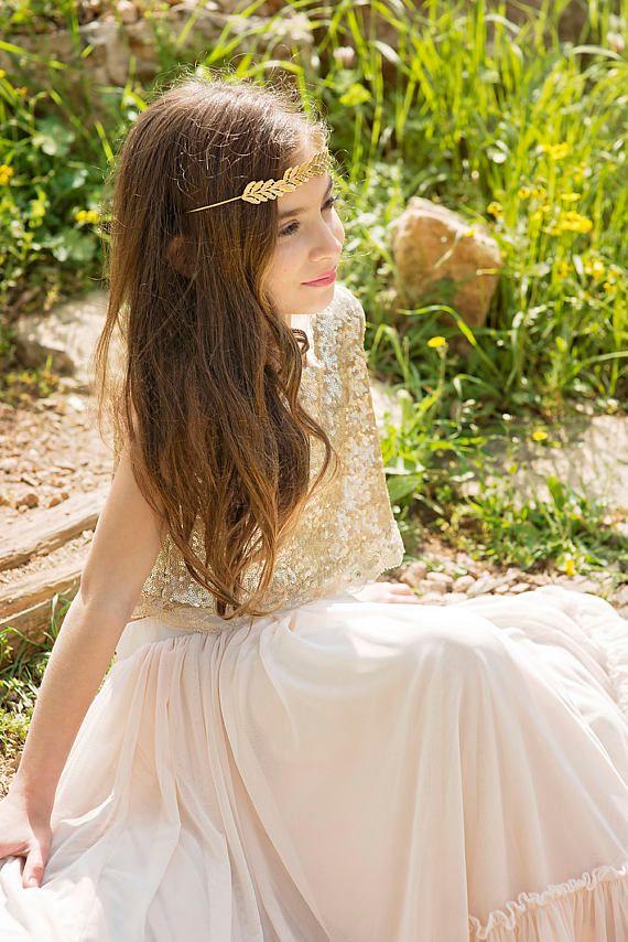 Vestito da bambina di fiori d'oro Boho Vestito da bambina di damigelle d'onore Junior Vestito da cerimonia nuziale per bambina. Abito da cerimonia per la prima comunione