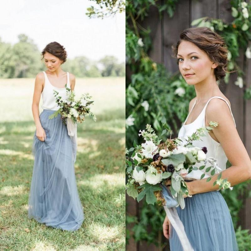 Vintage Two Tone Bridesmaid Dresses Country Wedding Maid of Honor Dresses Scoop Neck A Line White and Dusty Blue Tulle Long Formal Gowns