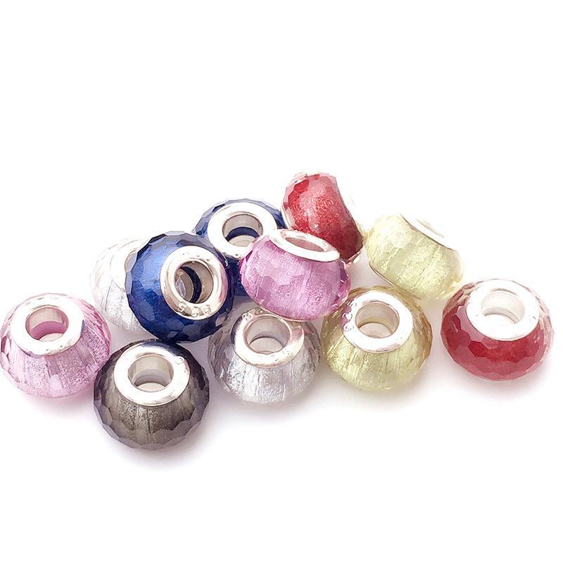 Granos de cristal de Murano hechos a mano europeos 5 colores Granos de la aleación de Murano ajuste pandora pulseras brazaletes accesorios de la joyería