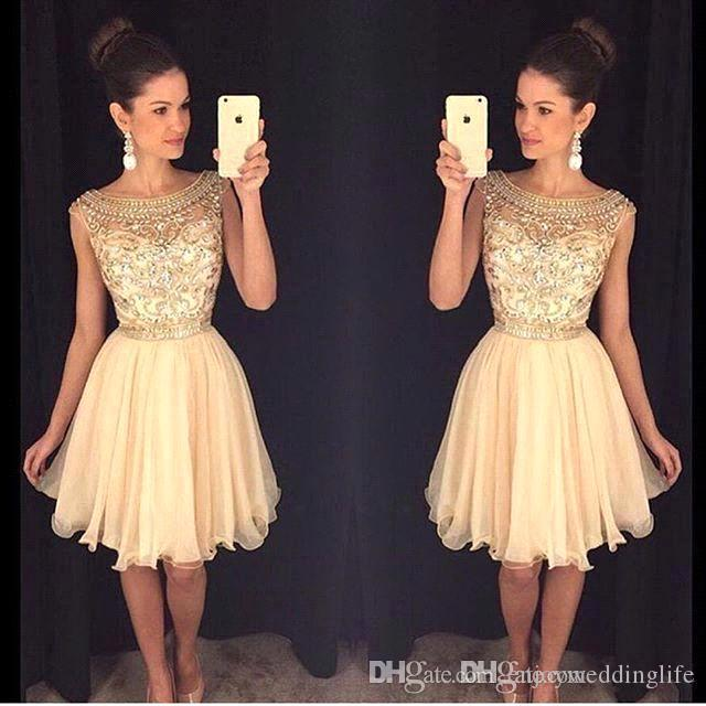 2017 New Scoop Neck Chiffon Homecoming Dresses Sheer Beaded Stones Top Mini Short Party Prom Dresses BA3501