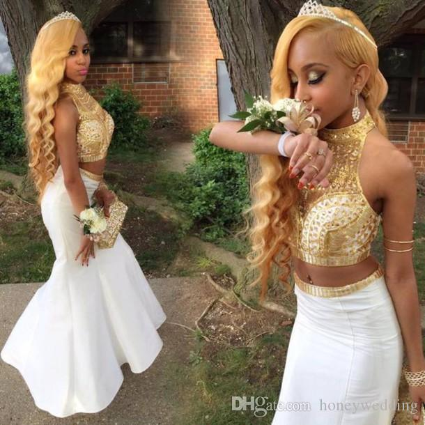Fantastic Black Girl Two Pieces Prom Dresses Halter Neck Gold Sequins Beaded Long Dresses Evening Wear Formal Party Gowns 2016