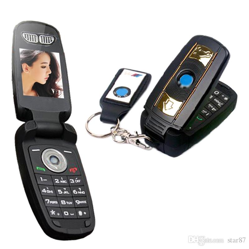 DHL Free New Unlocked Fashion single sim card cartoon flip mobile phone super design with LED Flishlight car key cell phone cellphone