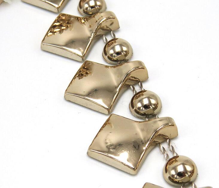20yard Half Runde Perlen Quaste UV Plated Chain Trim Für Nähen Apperal Tasche Schuhe Kappe Kragen Dekoration