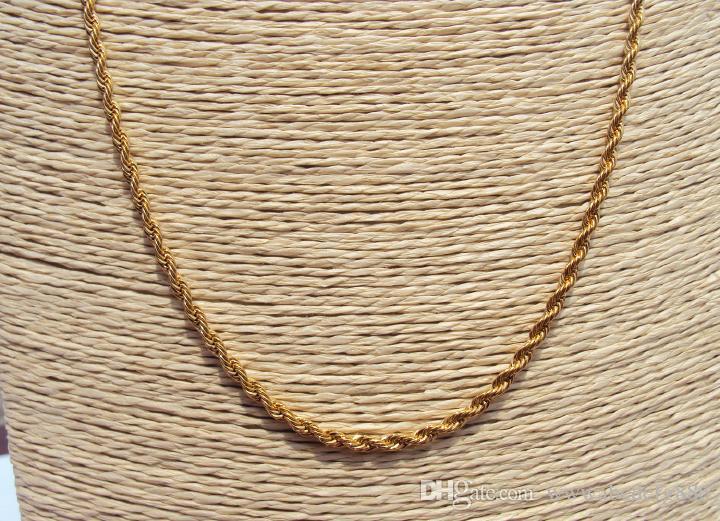 Hohe 14 Karat Gelbgold GF Kubaner gebratener Teig Twist Kette Halskette 88cm Schmuckgeschenk mit etwa 30% oder mehr einer Legierung