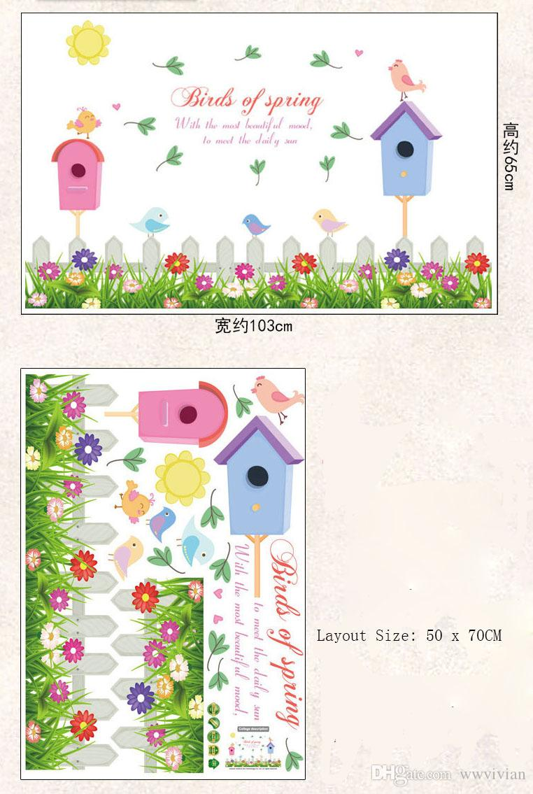 Fence Birdcage Flowers Birds Wall Decals For Kids Room Nursery - Diy wall decor birds