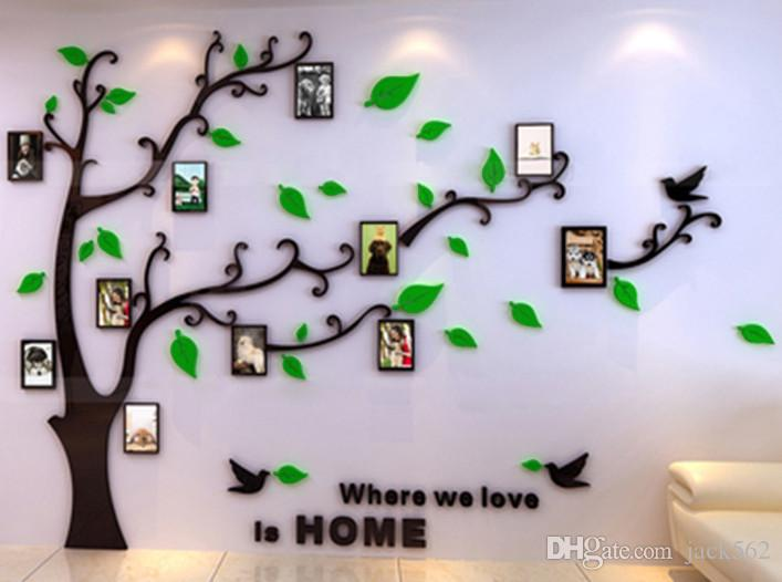 New Arrival Fastion Creative 3D Crystal AcrylicTree Blowing Home Decoration Wall Decal With Three Styles Tree For Bedroom Living Room