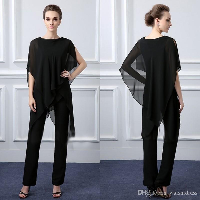 Custom Made Preto Mãe Da Noiva Calças Terno Duas Peças Casamentos Guest Groom Outfit Plus Size Garment Formal Vestidos