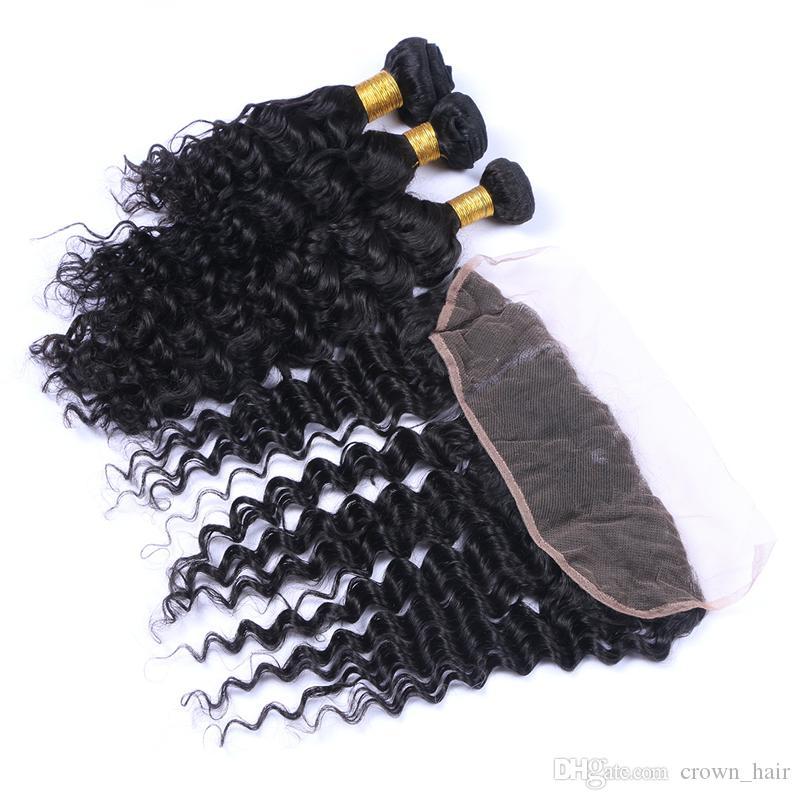 13x4 frontal de encaje con paquetes de cabello humano virginal brasileño 4pcs / lot rizado profundo de oreja a oreja frente de encaje completo con tejidos de pelo