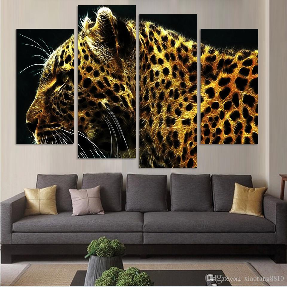 4 Panel Leopard Pictures Pintura Al Óleo Decoración de La Pared Lienzo Arte Pop Cuadros Alta Definación Impresiones Para la Sala de estar (Sin Marco)