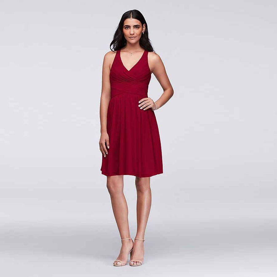 Kısa Nedime Elbisesi Çapraz Geri ile W11480 V Yaka Şifon Düğün Parti Elbise vestidos de graduacion vestidos de gala 2019