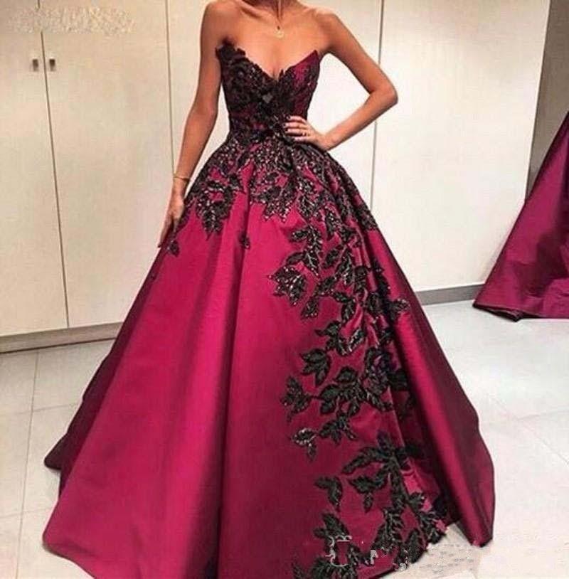 2018 сексуальные вечерние платья носить возлюбленной бордовый атлас черные кружевные аппликации спинки длинные бисерные платья выпускного вечера плюс размер вечернее платье