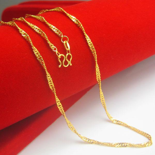 Compre Por Um Longo Tempo Não Se Desvanece Colar De Ouro Moda Feminina Cadeia De Jóias De Ouro Modelos De Simulação De Onda Curta De Corrente Fina