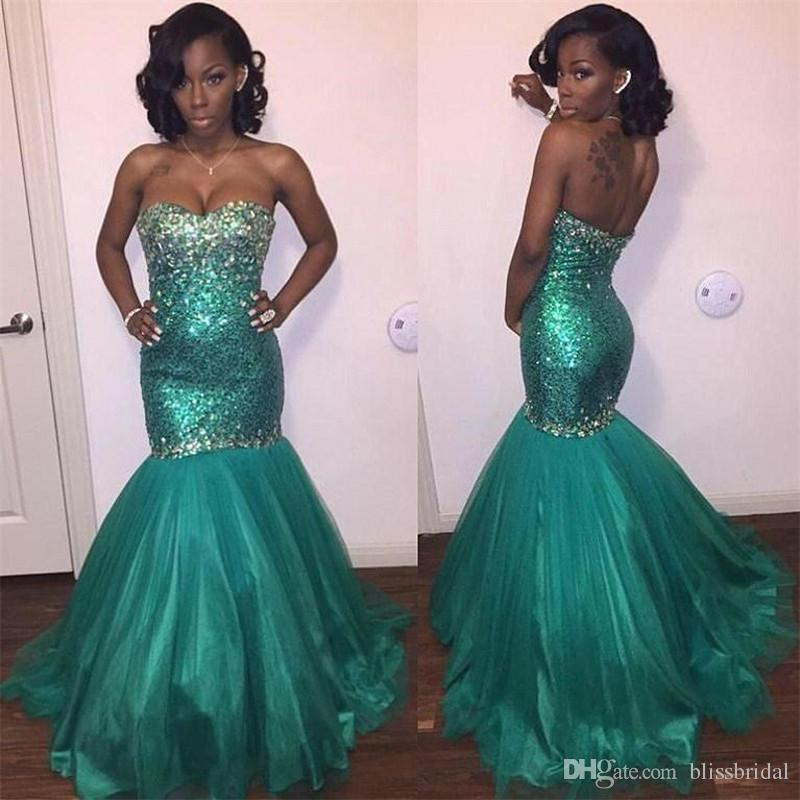 ce6fe3f656 Sparkly Turquoise Prom Dresses Strapless Beaded Sequined Evening Gowns  mermaid Stunning Rhinestone Black Girl Party Gowns
