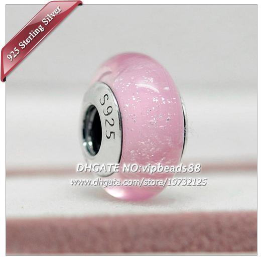 5pcs S925 gioielli fatti a mano in argento sterling rosa fluorescente perle di vetro di murano adatto europeo fai da te pandora braccialetti di fascino collana