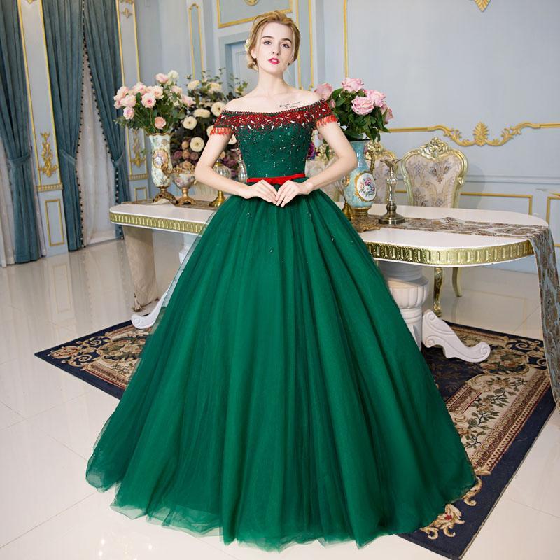 100 % 진짜 녹색 빨간색 구슬 크리스탈 전체 럭셔리 공 가운 중세 드레스 르네상스 드레스 Sissi 공주 빅토리아 / 마리 벨 공