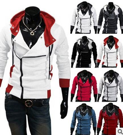 Wholesale-2016 Stylish Mens Assassins Creed 3 Desmond Miles Costume Hoodie Cosplay Coat Jacket