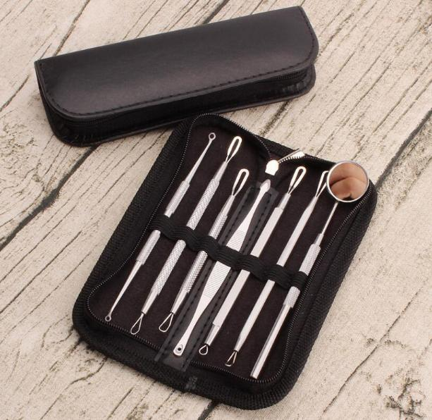 Stainless Antibacterial Acne Needle Blackhead And Pimples Remover mirror Blackhead Remover Tool Comedone Blemish Extractor 7pcs/set Needles