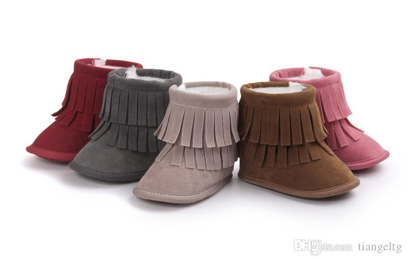 New Infant Walking Boots Winter Warm Flannelette Fur Linning Double Tassels Thread Hook&loop Anti-friction Anti-slip Soft Sole