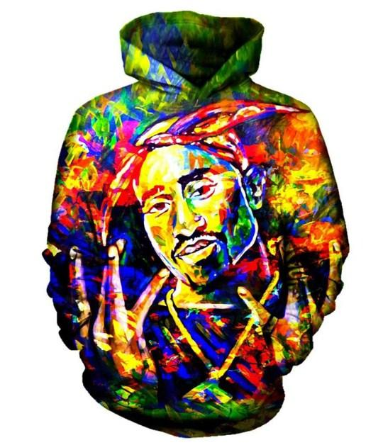 Yeni Moda Kadınlar / Erkekler Boyama 2pac Tupac Komik 3D Baskılı Rahat Hoodies Kazak Artı Boyutu P47