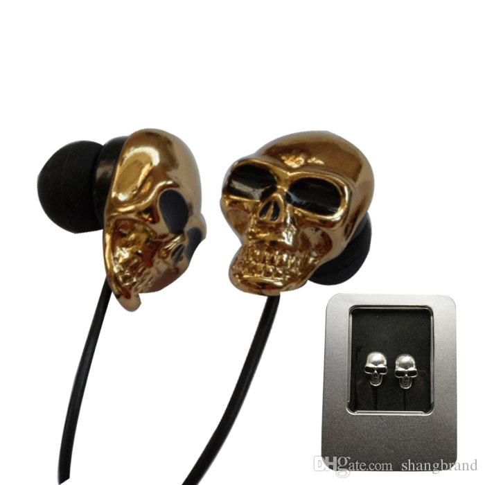 3.5mm Metal Skull Sports Earphone Unique Design Metal Earbuds In-Ear Stereo Cell Phone Earphones For iPhone 8 Plus Samusng HTC LG