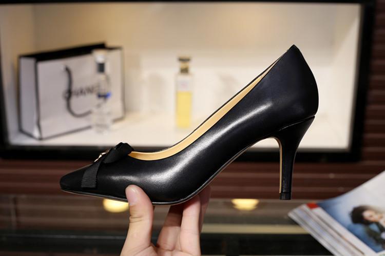 Alta qualità ~ Vogue scelte! U630 3 colori 3 colori in vera pelle bow bow thels tacchi a punta scarpe sexy nudo rosso nero lavoro classico