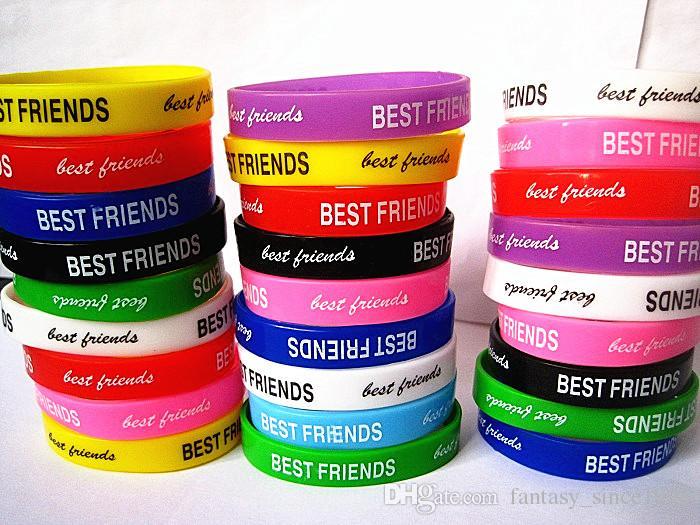 оптовые оптовые партии 100 шт. смешанные цвета лучшие друзья дружба дети силиконовая резина браслет браслеты новый
