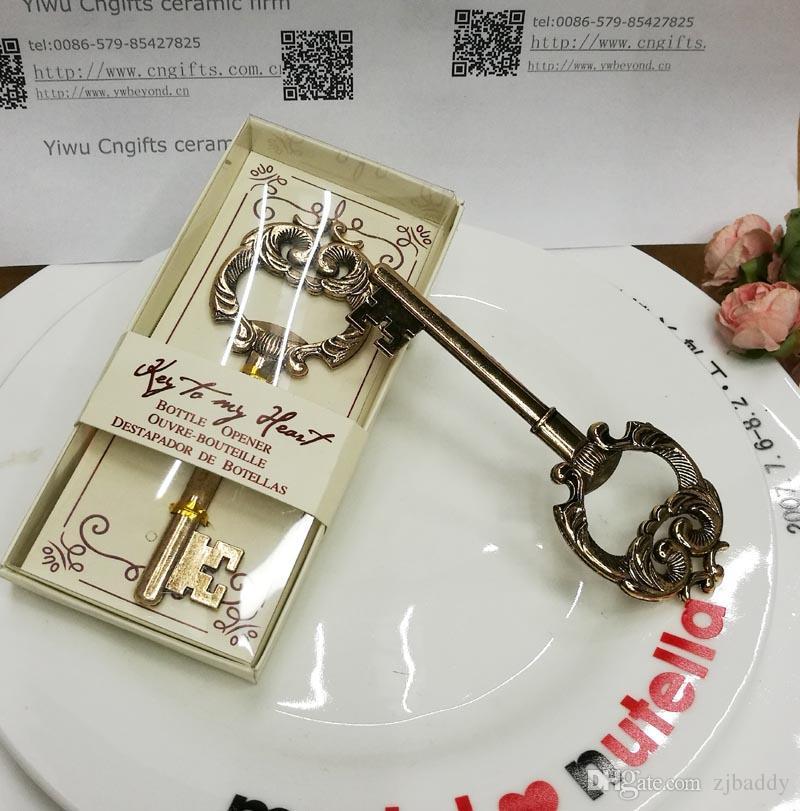 Bomboniere della festa di nozze Souvenir antico della bottiglia chiave d'oro per la festa nuziale Souvenir e regali della doccia nuziale 100pcs / lot