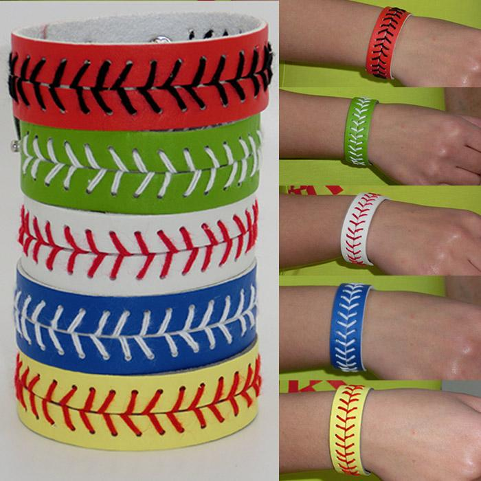 NEW! Leather Baseball or Softball Bracelet with Red Stitching and Snap Closure Sports