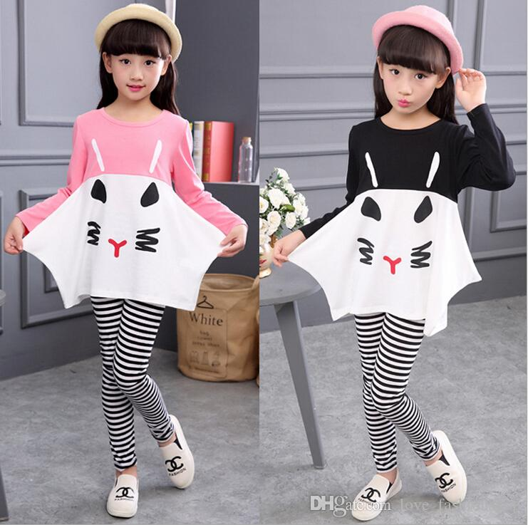 Nieuwe meisjes schattige kat strip outfits sets kinderen herfst lange mouw twee stukken cartoon trainingspakken (losse t-shirt + leggings) strakke meisjes pakken set