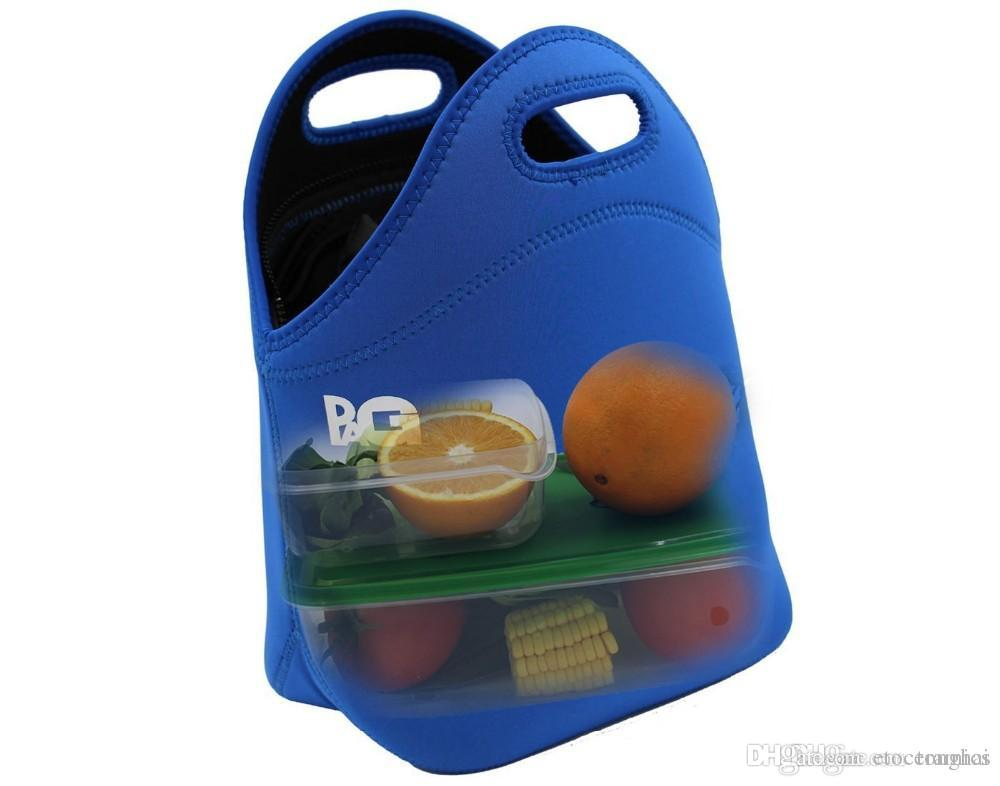 Néoprène Déjeuner sac de transport Totes cas de stockage Thermo sac à main Boîte à lunch avec intérieur Packet Design, Bleu H210477