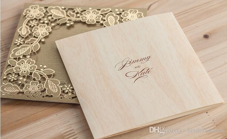 gold flower log color inner laser cut wedding invitations cards