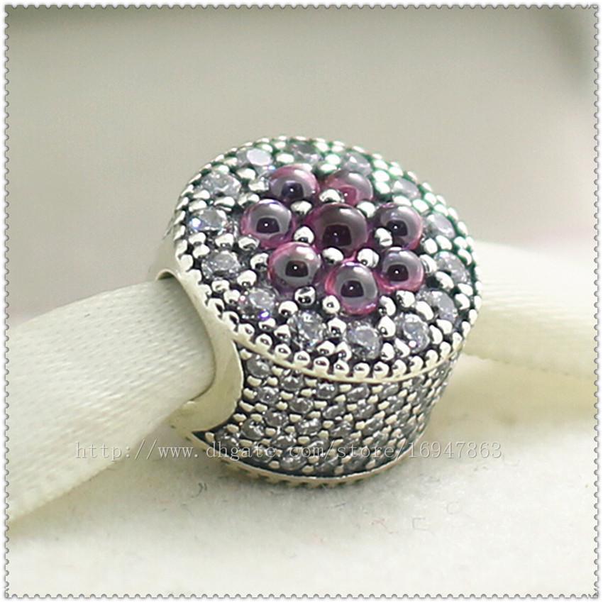 2016 Nouveau Printemps S925 En Argent Sterling Éblouissant Floral Charm Perle avec Zircone Cubique Convient Européenne Pandora Style Bijoux Bracelets