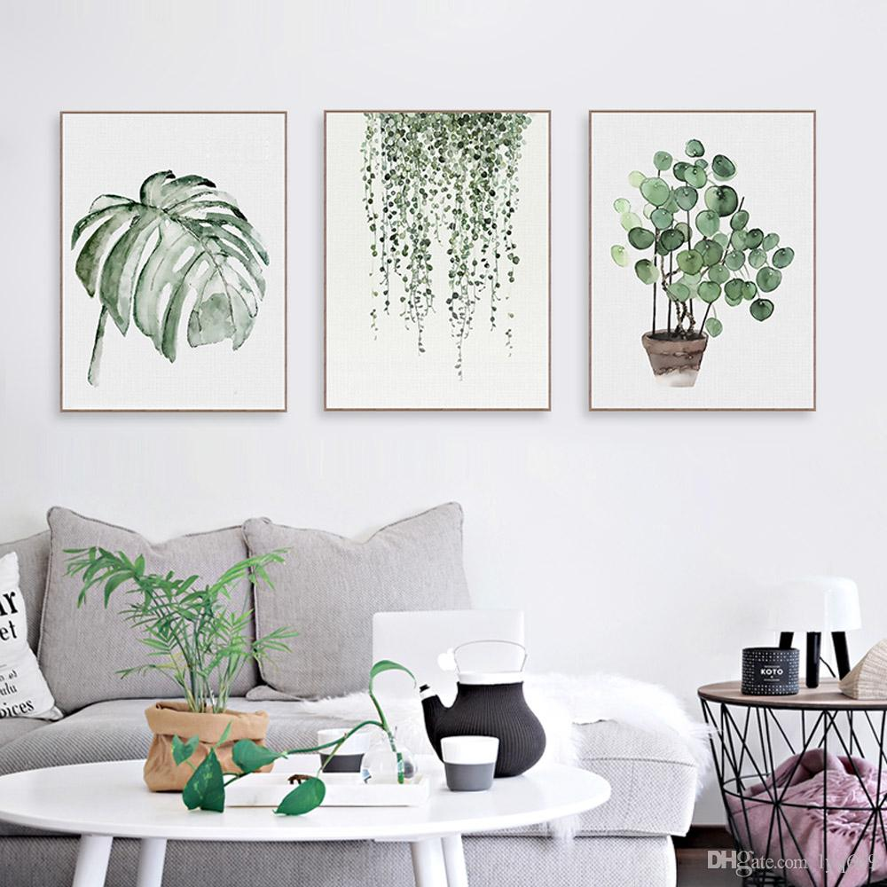 Modern Nordic Green Plant Leaf Canvas Art Poster Home Living Room Wall Decor Lot