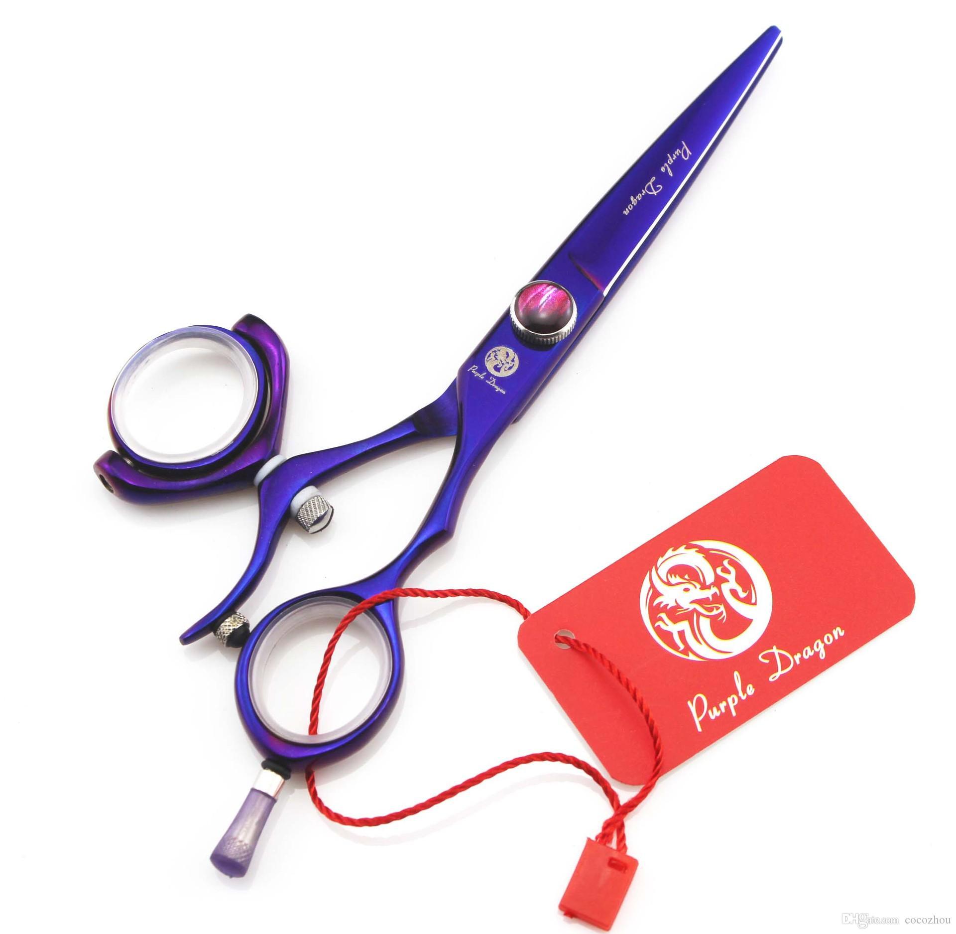 610# 5.5'' Brand Purple Dragon TOP GRADE Hairdressing Scissors JP 440C 360 Degree Rotation Barbers Cutting Shears Hair Scissors