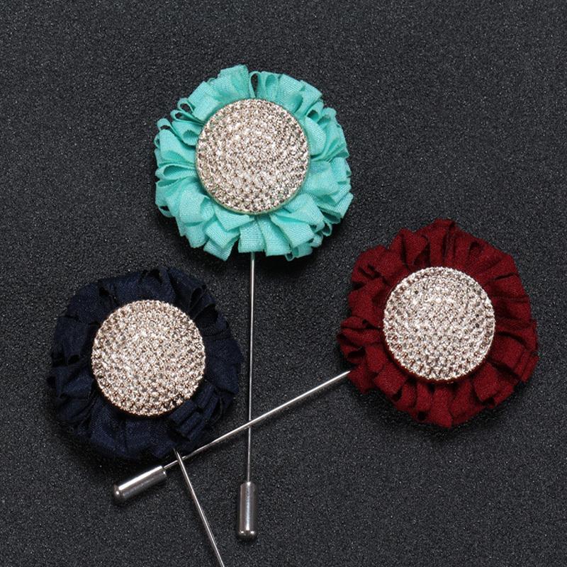 Neue Mode Männer Blume Revers Pin Anzug Boutonniere Stoff Garn Pin Solide Farben Taste Sonnenblume 3 Farbe schöne Broochers Hochzeit