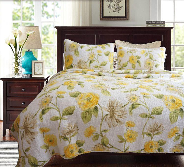 Ricamo del cotone Quilting Quilts giallo floreale casa trapunta di lusso HOTEL bianca AB lato stampato in cotone copriletto copriletto king size p