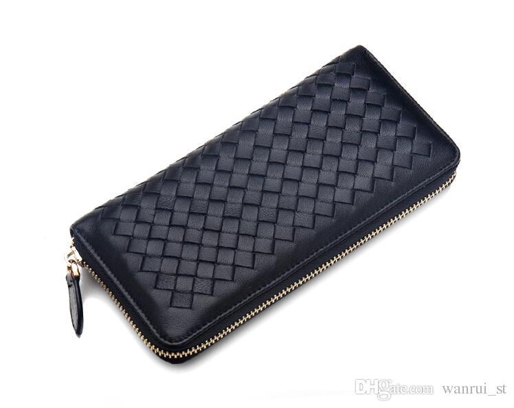 Damen Brieftaschen und Geldbörsen Berühmte Marke Designer Münze Kreditkarteninhaber Leder Geldbörse Geldscheinklammer Brieftasche Frauen gewebt Leder Wellets