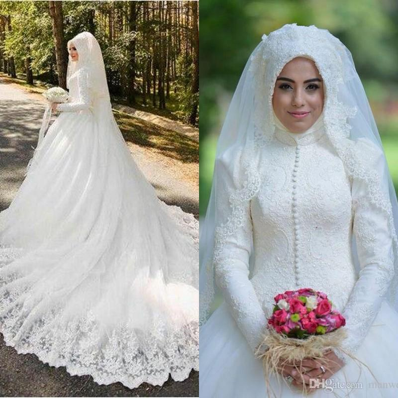 Muslim Wedding Dresses 2016 Latest Full Lace High Neck Long Sleeves Buttons Applique Chapel Bridal Gowns Arabic Islamic Custom Made EN6026