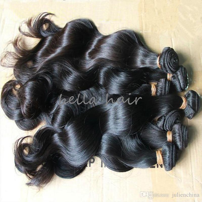 بيلا الشعر ® 8a بيرو الإنسان نسج الشعر الطبيعي اللون أسود الجسم موجة الشعر البشري نسج مزدوج لحمة الشعر حزم